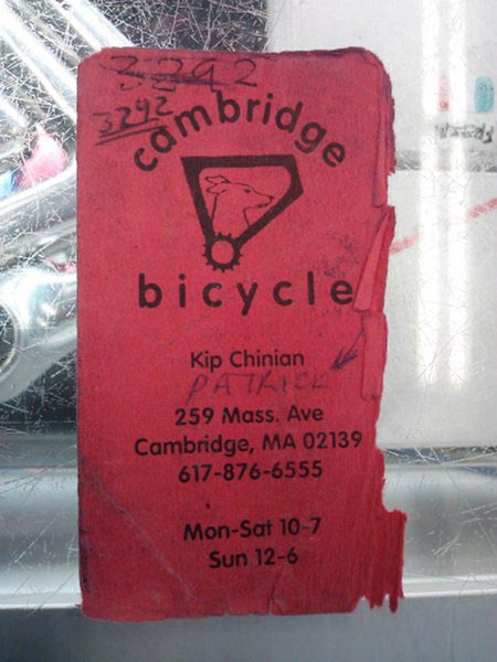Vintage Cambridge Bicycle business card