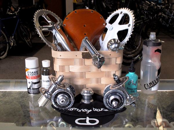 Peterboro Bicycle Basket stuffed with awesome products