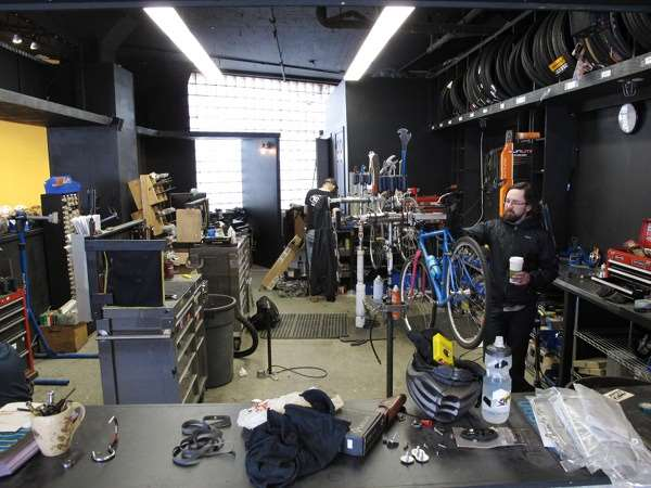 Pete Shelby in bicycle repair area