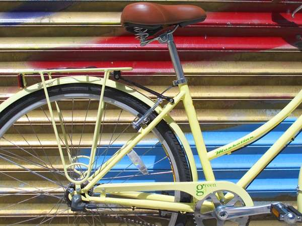 2031 KHS Green 3 speed cream yellow uframe stepthrough city commuter bicycle