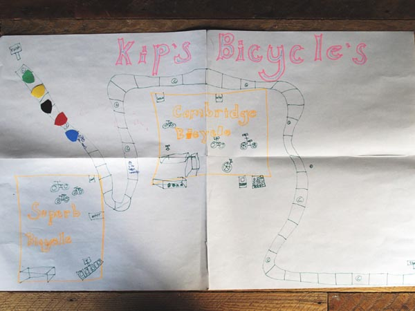 Kips kid's home made bicycle board game