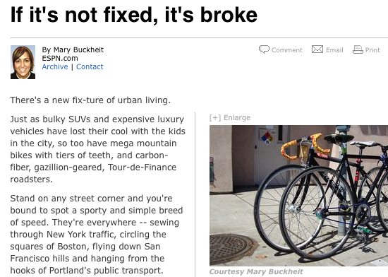 ESPN Fixed-Gear Article