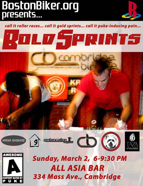 Bold Sprints @ All Asia Bar in Cambridge + DJ Mayhem from Cambridge Bicycle