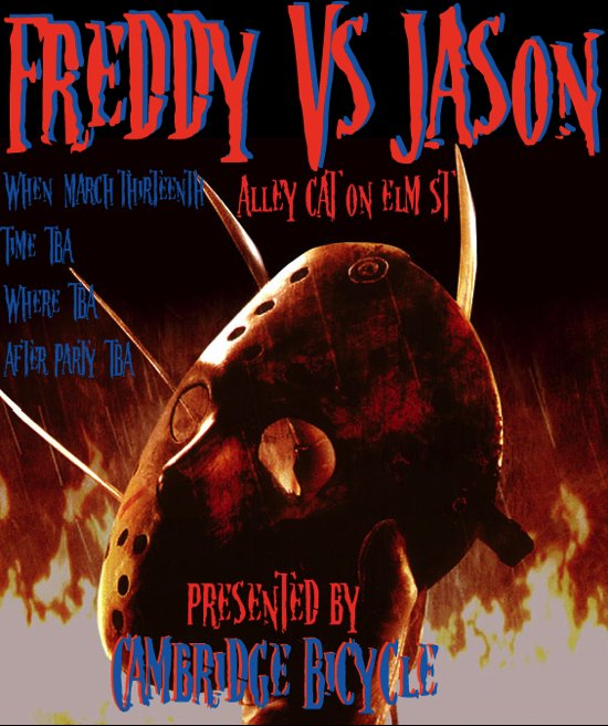 Cambridge Bicycle Presents: Freddy Vs Jason Alley Cat on Elm St, Friday the 13th of March