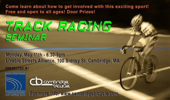 Beginning Track Racing Seminar, Monday May 11th