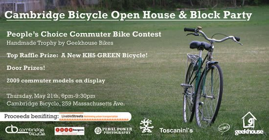 Cambridge Bicycle Open House & Block Party, Thursday May 21!!!