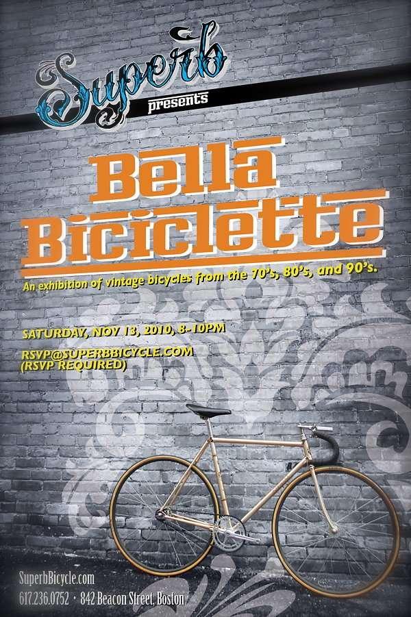 "Superb presents: ""Bella Biciclette"" Sat Nov 13th 8-10pm"
