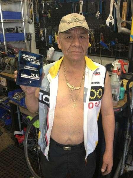 Abe in Bicycle Retailer award jersey with top 100 Interbike award 2012