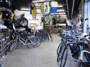 Renovations front of bike shop before