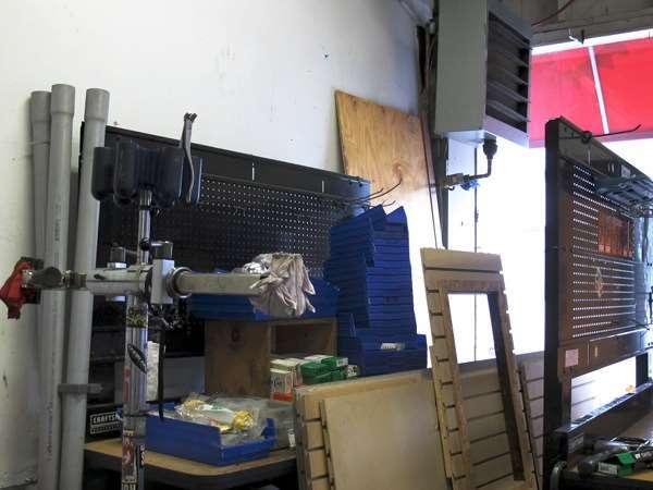 Bicycle shop renovations -- big pile of stuff