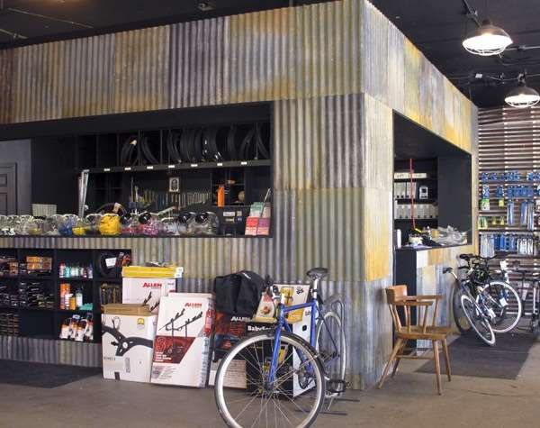 Boston bike mechanic's area remodeling
