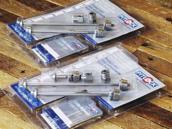 Pitlock locking quick release skewers and seat binder bolt