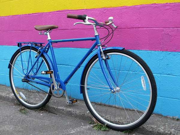 2031 KHS green 3 speed blue city bicycle commuter