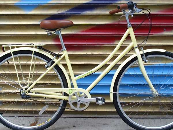2013 KHS Green 3 speed stepthough cream yellow city commuter bicycle nyan cat