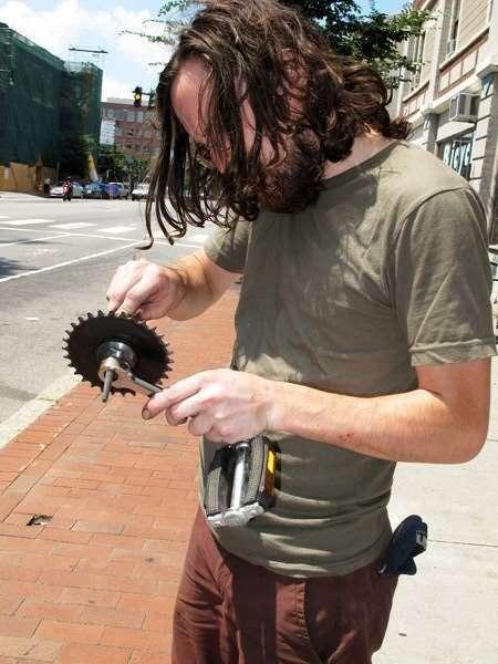 Pete fixing The Coffee Trike Boston Boston