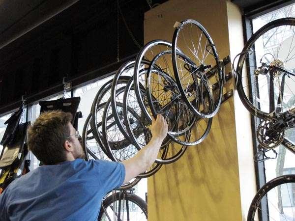 Mavic road and mountain wheels on display