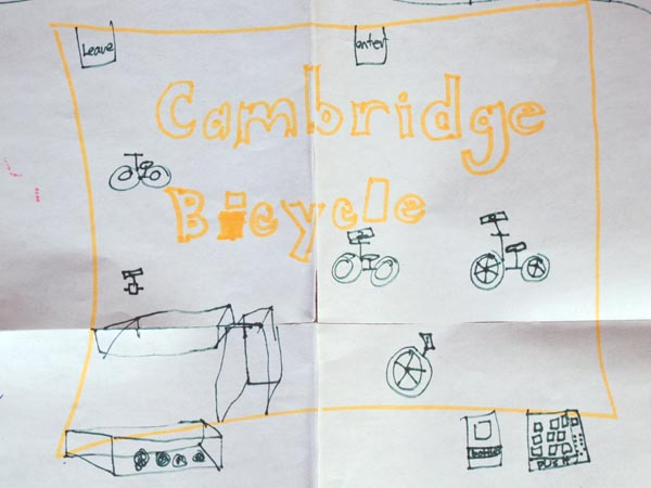 Kip's kid's home made bicycle board game