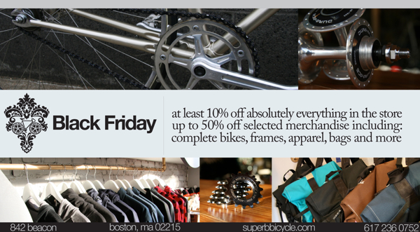 Black Friday Boston bicycle store sale